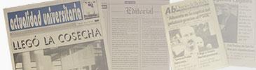 Actualidad Universitaria. Primer periódico universitario de la UCLM, fundado por Ana Rico Sánchez